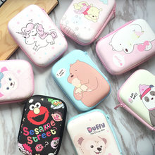 Portable Carry Digital Storage Bags Cute Cartoon USB Cable Organizer Earphone Package Zipper Coin U Disk Square Box Storage Bag(China)