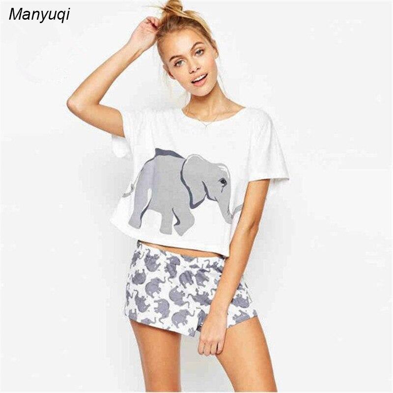 Summer elephant pattern print women 39 s pajamas set short T shirt and shorts pyjamas