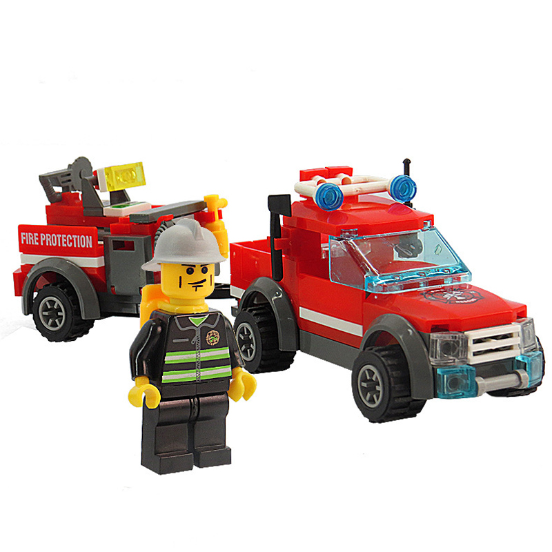 Compatible Legos City Firefighting Car Building Blocks Toys City Firefighting Toy Fire Truck Toy For Kids Gift Birnquedos 143pcs kazi toys 143pcs firefighting cew building blocks compatible legoe city diy bricks fire assembled toy fire truck toys for kids