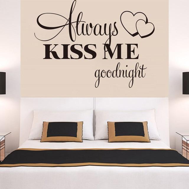 """Always Kiss Me Goodnight"" Home Decor Wall Sticker Decal Bedroom Vinyl Art Mural  Drop Shipping De4 3"