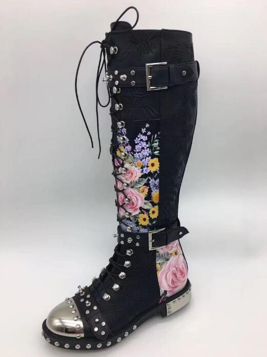 Strappy Besetzt Kniehohe Floral Feminina Pic As Botas Stiefel Motorrad Punk Stickerei Zipper Frau Schuhe Winter Pic 2019 Wohnungen Seite as 4wEO0q8wx