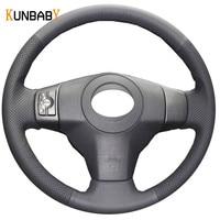 KUNBABY Car Styling Black Leather Car Steering Wheel Cover for Toyota Yaris Vios RAV4 2006 2009 Scion XB 2008 Car Accessories