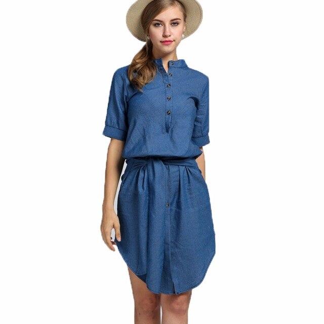 8f12a2cd2aa Mode Élégante Sexy Femmes Chemise Robe Denim Tunique Jean Vêtements  Vêtements Courts Dame Femelle Kleider Robe