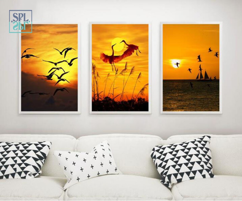 SPLSPL Beautiful Sunset Scenery Flying Bird Animals Painting Print On Canvas Frameless Wall Art Home Decor Picture Decoration