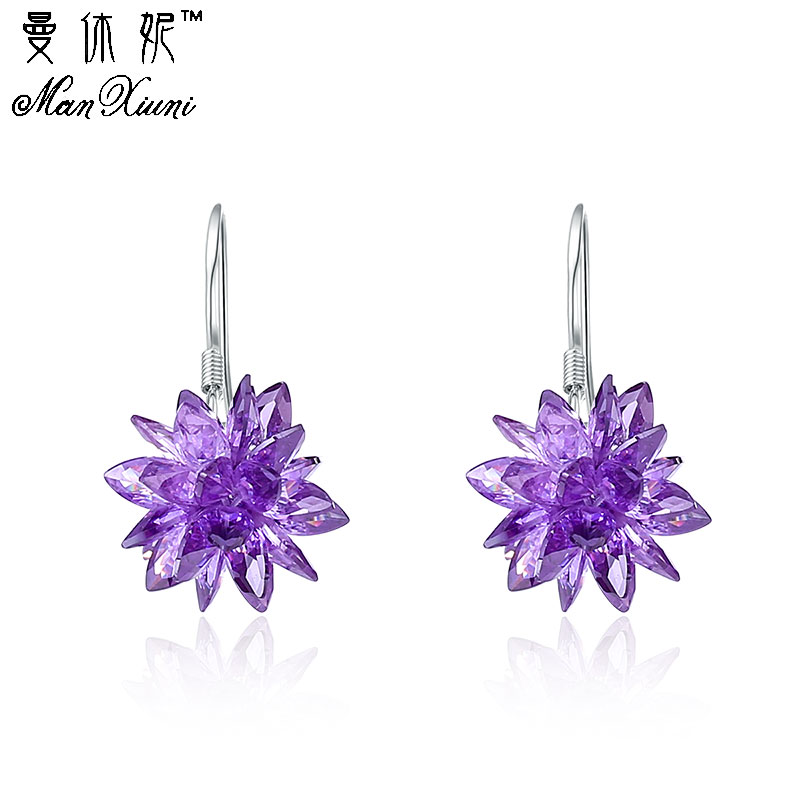 fashion earring with Stone white crystal ice flower female 925 sterling silver ladies`drop earrings  jewelry Pendientes