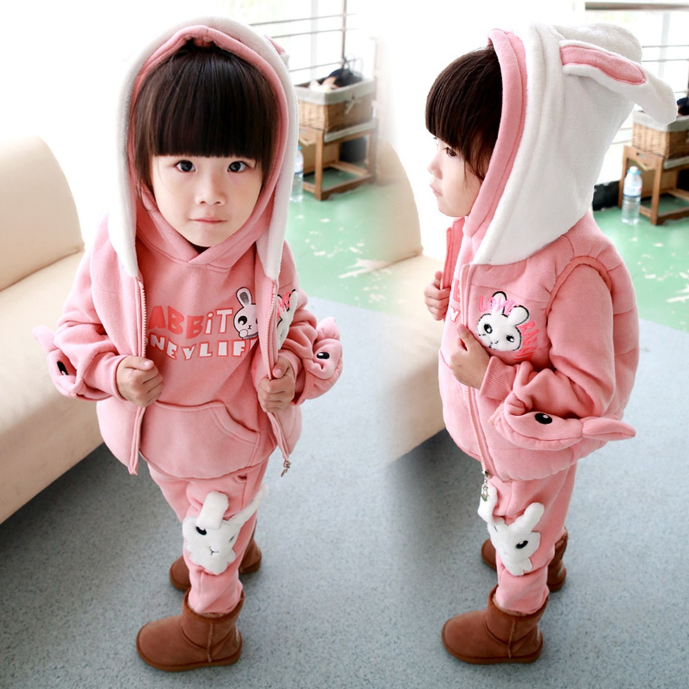ФОТО Anlencool 2017 Girls sweater three-piece Korean version of  new childrens clothing children's winter suit Dongkuan small rabbit