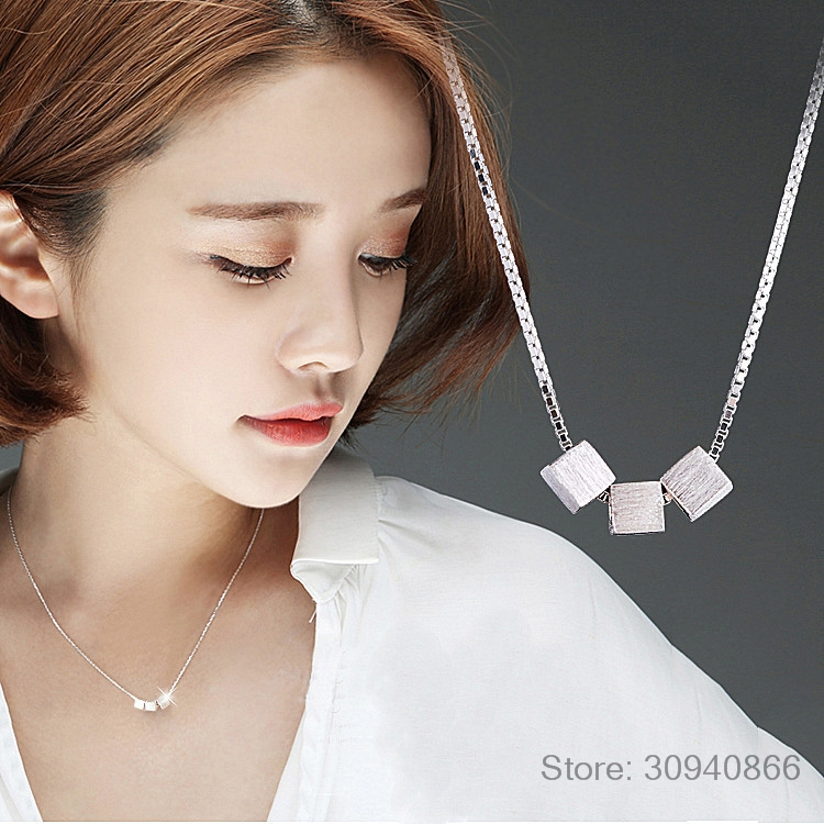 925 Sterling Silver Necklace Three Scrub Square Cube Box Choker Necklace For Women Collier Femme Valentine's Day Gift S-N47