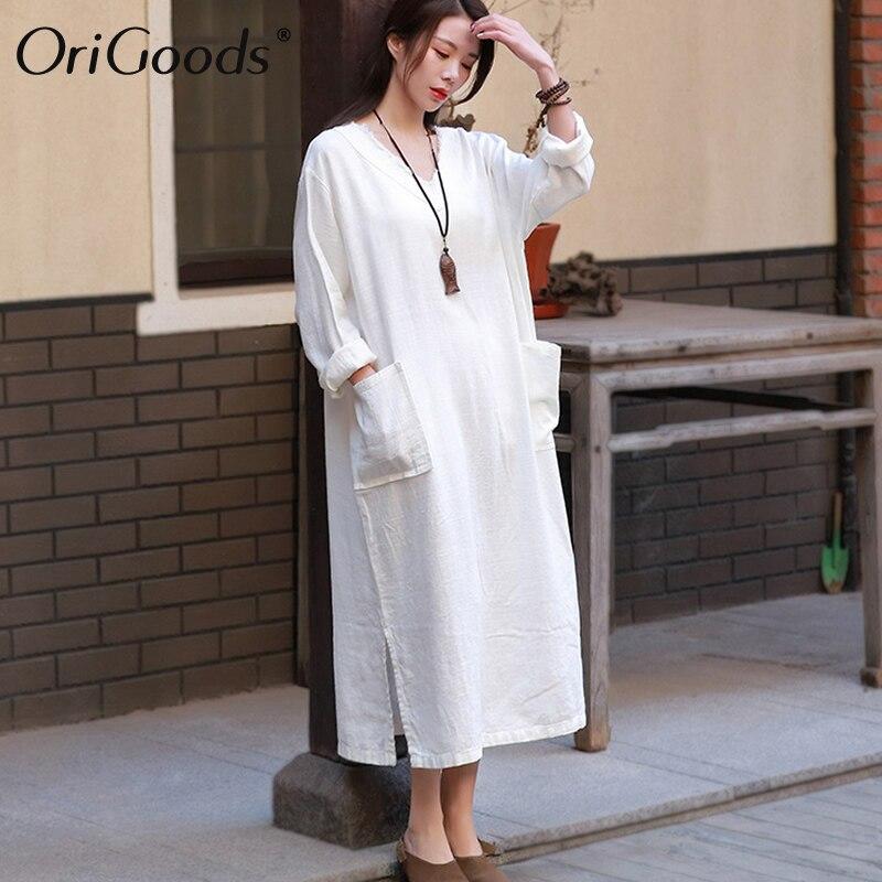 be9a69d13d1 OriGoods Винтаж льняное платье Для женщин v-образным вырезом с длинным  рукавом длинное платье Большие размеры свободные льняные летнее платье о.