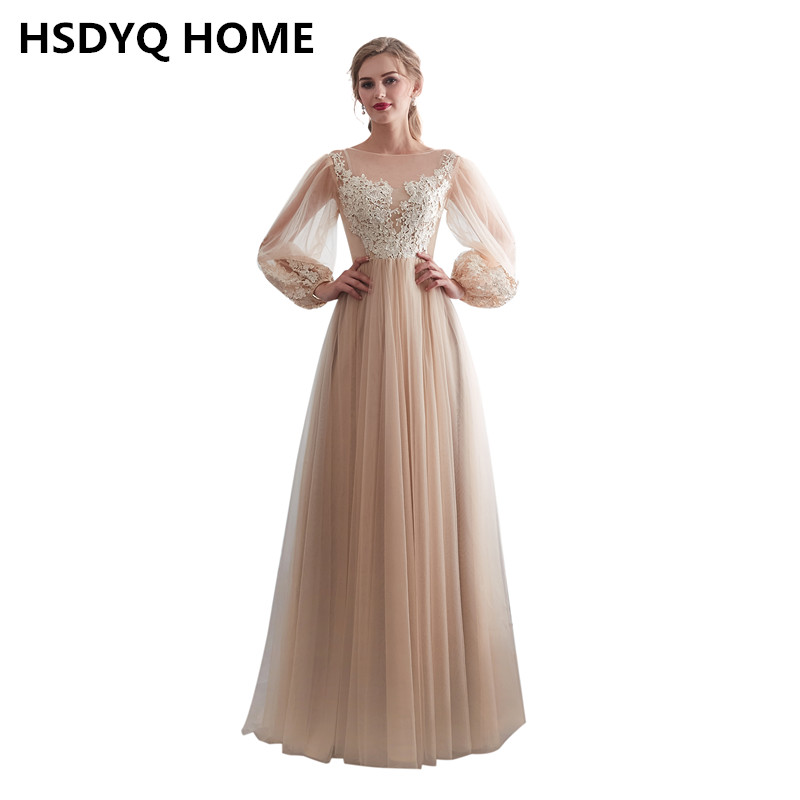 New arrival Long sleeves   Evening   Prom   dresses   A-Line Prom   Evening     Dress   Long   dress   Appliques Party Gowns 2018
