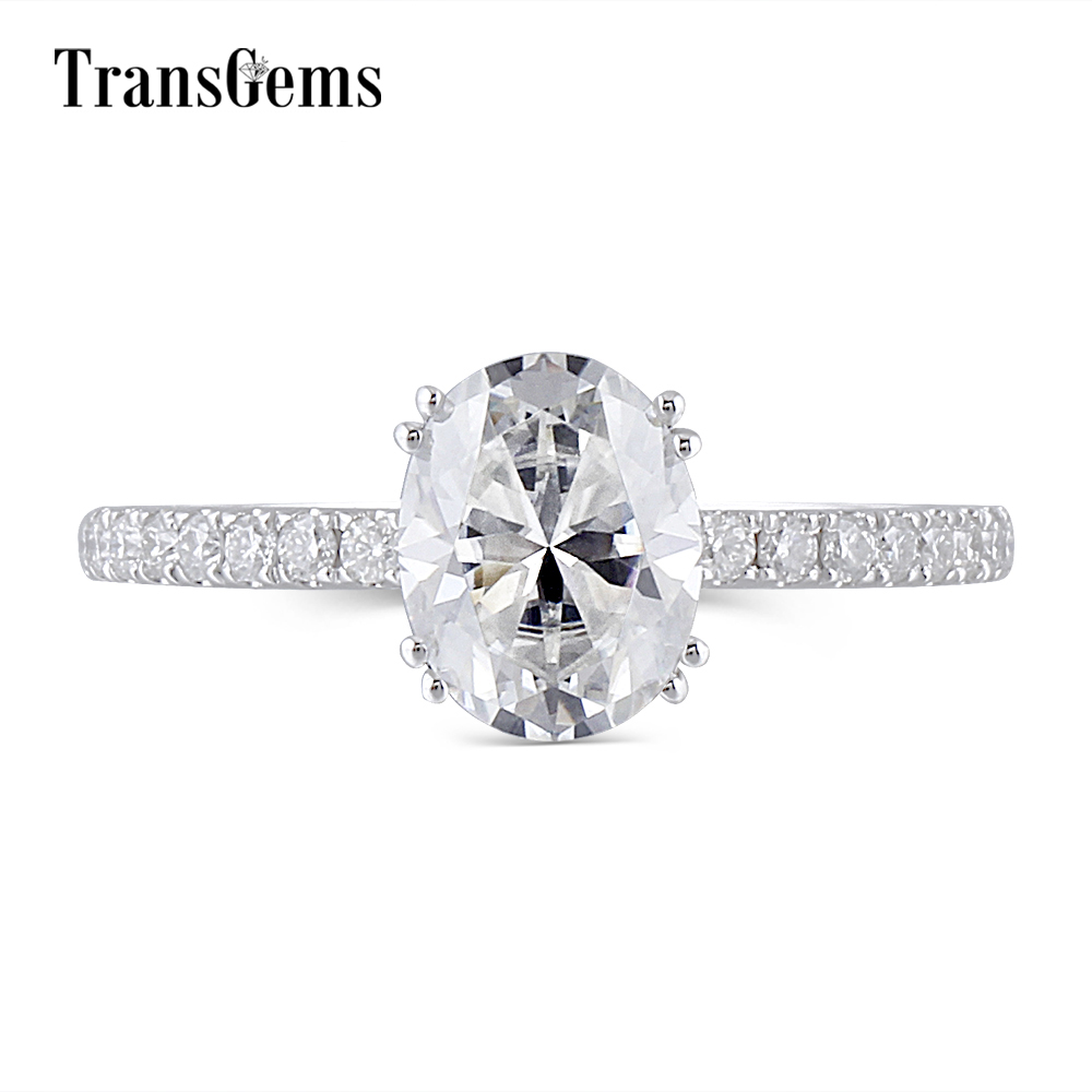 Transgems Solid Gold Oval Moissanite Engagement Ring for Women 2ct Carat 7X9MM Oval Moissanite FG Color 14K 585 White Gold transgems 1 6 ctw carat lab grown moissanite diamond eternity band solid 14k yellow and white gold engagement anniversary ring