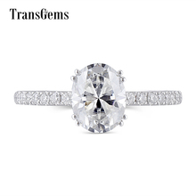 Transgems Solid Gold Oval Moissanite Engagement Ring for Women 2ct Carat 7X9MM FG Color 14K 585 White