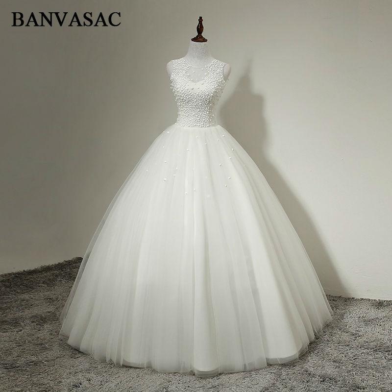 BANVASAC 2017 Beadings Baru O Leher Gaun Pengantin Elegan Tanpa - Gaun pengantin