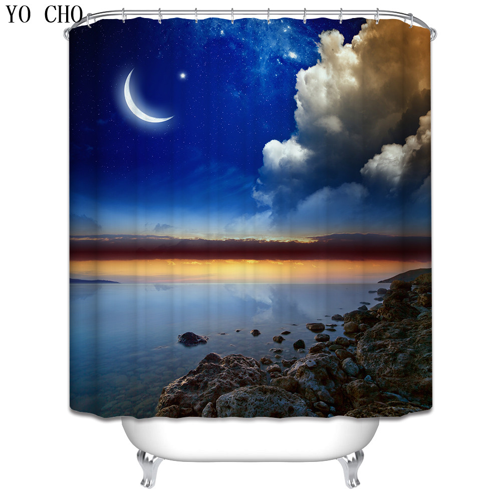 Christmas Shower Curtain beach scenery lighthouse bath curtain ...