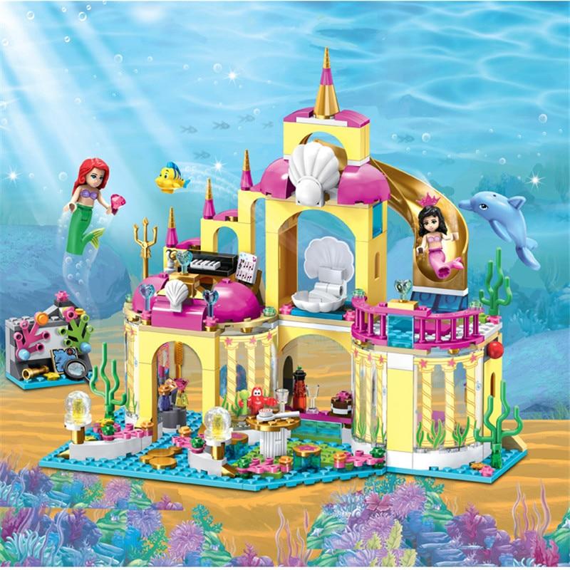Girl Friends Princess Mermaid Ariel Undersea Palace Building Bricks Blocks Toy Christmas Gift For Girl