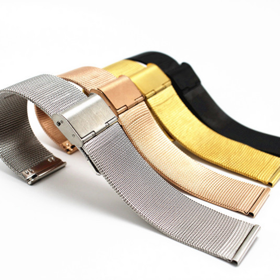 ultra-thin Stainless Steel milan Mesh Strap Bracelets Watch Band 12 14 16mm 18mm 20mm 22mm 24mm Black Silver Gold Rose Gold watch band 22mm new mens black pure polished solid stainless steel watch bands strap bracelets free shipping