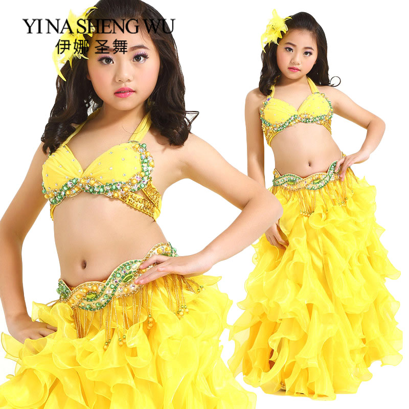 Children Belly Dance Clothes Oriental Dance Outfit Beaded Bra Belt Skirt Professional Kids Belly Dance Performance Costumes Sets