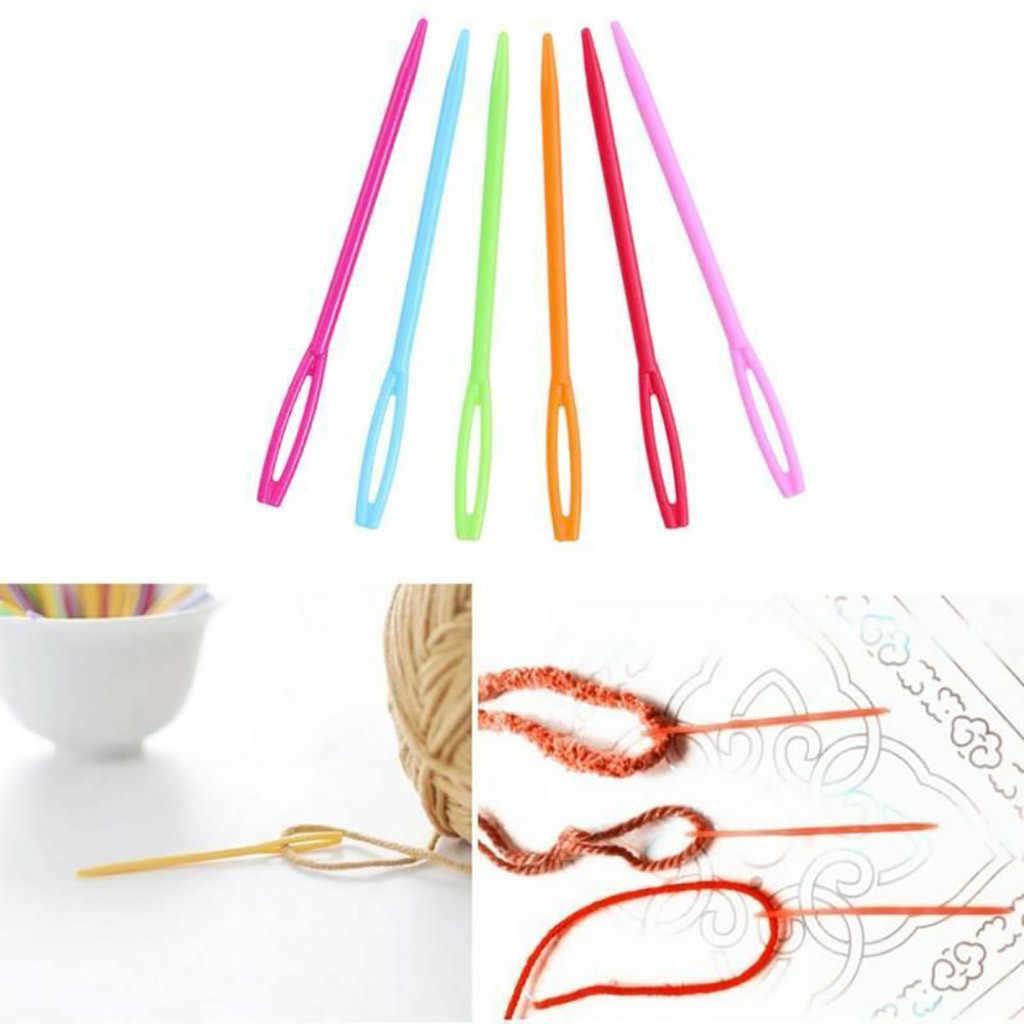 100 Pcs Plastik Jarum Jahit untuk Anak Wol Cross Stitch Merajut Crochet 7 Cm Jarum Jahit Plastik Jarum Jahit Aksesoris untuk