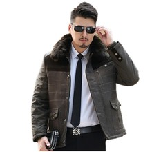The new winter 2016 In the men's long thickening Detachable collars cotton-padded clothes big yards