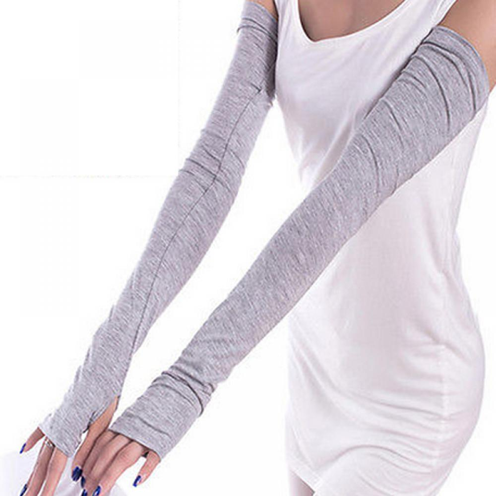 1Pair Fashion New Women Winter Arm Warmers Fingerless Long Gloves Solid Warm Mittens Elbow Thread Knitted Sleeves Fingerless