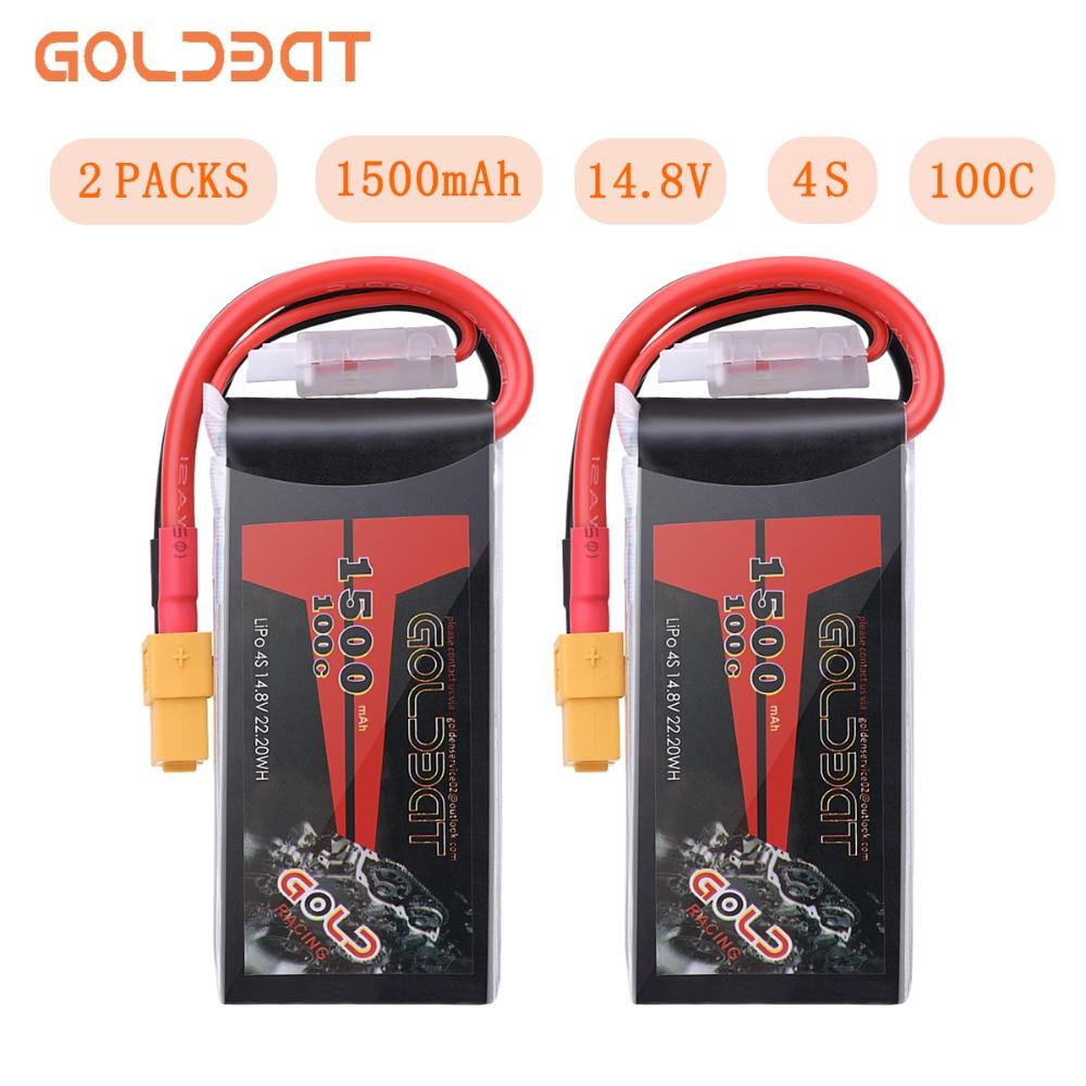 2UNITS GOLDBAT 14.8V Lipo Battery 1500mAh 4S Lipo Battery 14.8V Lipo 4s 100C With XT60 Plug For FPV RC Car Truck Airplane