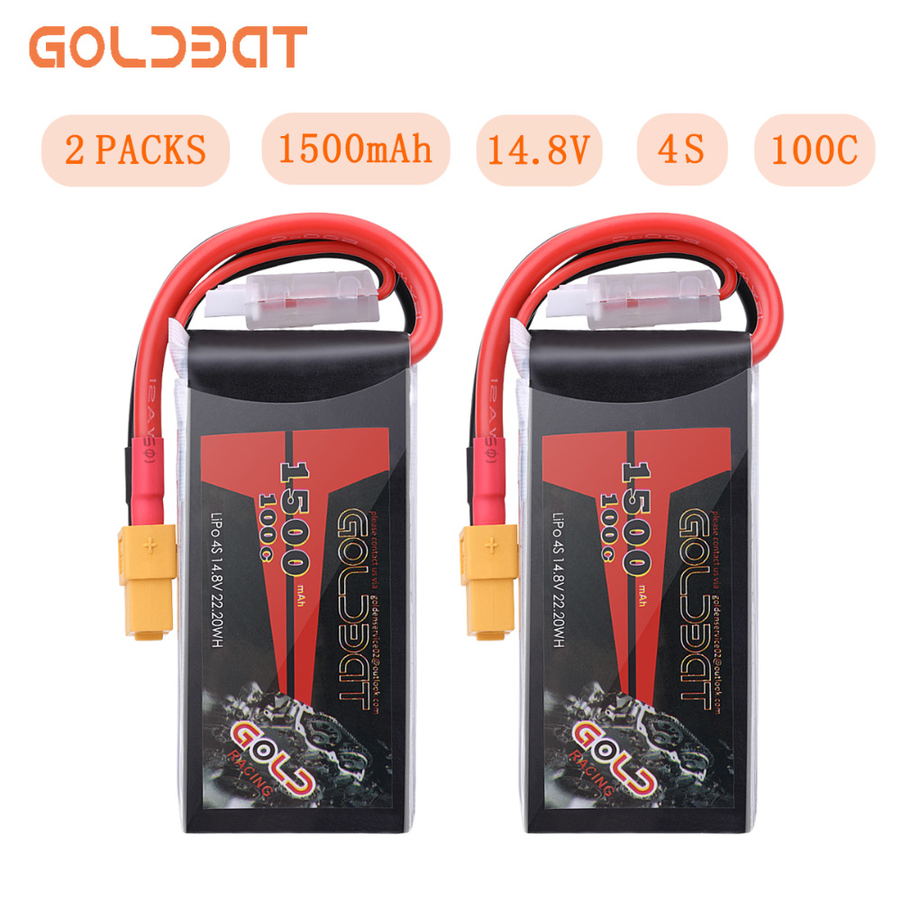2UNITS GOLDBAT 14.8V <font><b>Lipo</b></font> Battery <font><b>1500mAh</b></font> <font><b>4S</b></font> <font><b>Lipo</b></font> Battery 14.8V <font><b>lipo</b></font> <font><b>4s</b></font> <font><b>100C</b></font> with XT60 Plug for FPV RC Car Truck Airplane image