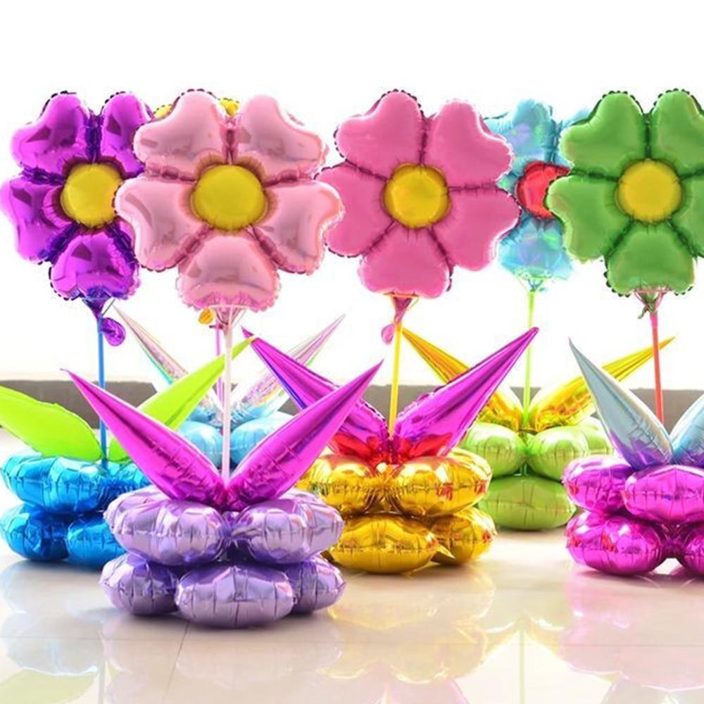 7Pcs/set Cartoon Plum Blossom Balloon Happy Birthday Balloons Inlatable Ballon W