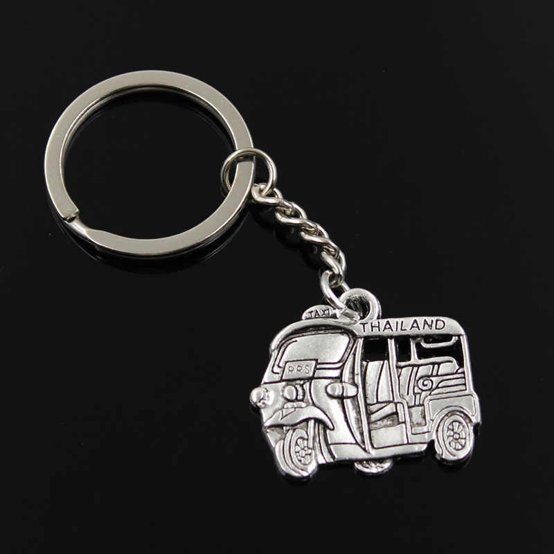 new fashion men 30mm keychain DIY metal holder chain vintage Thailand taxi car bus 27x33mm silver pendant Gift