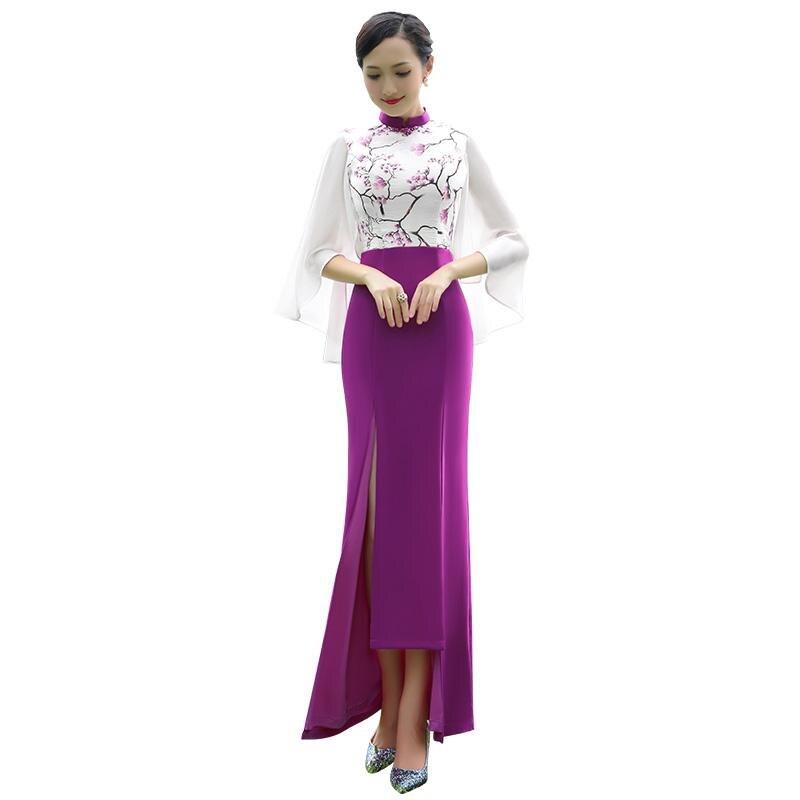 Asian Women Evening Party Dress Purple Print Flower Qipao Mandarin Collar Summer Cheongsam Sexy Slin Full Length Vestidos S-XXL
