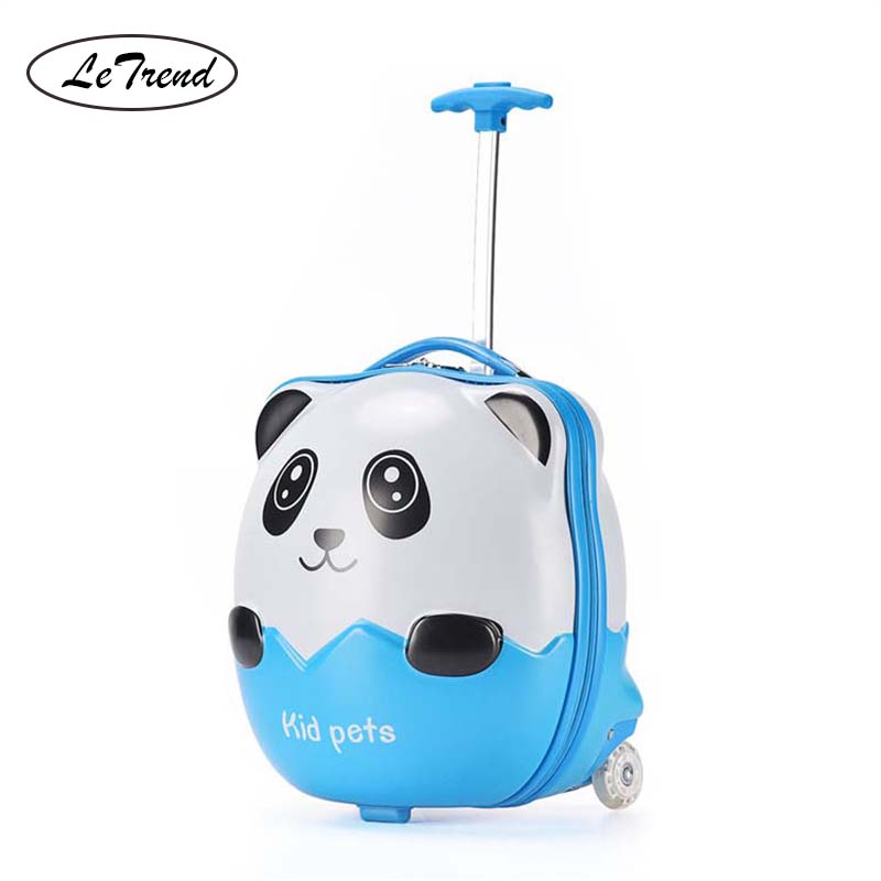 LeTrend Cute Cartoon Children Rolling Luggage Spinner Student Suitcase Wheels 16 inch Carry Ons Kids Trolley Travel Bags