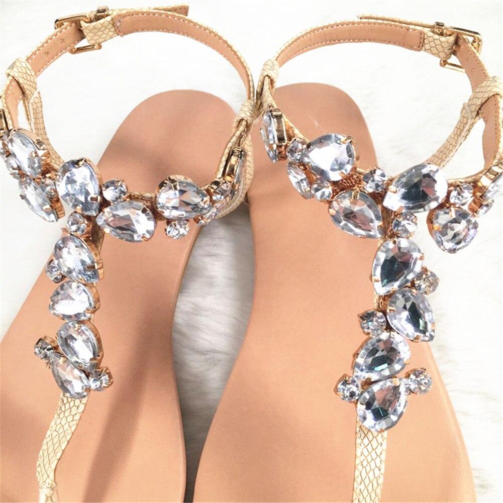 Lapolaka marque Design grande taille 35-47 loisirs cristaux Top qualité plage femmes chaussures d'été chaussures plates femme sandales tongs - 3