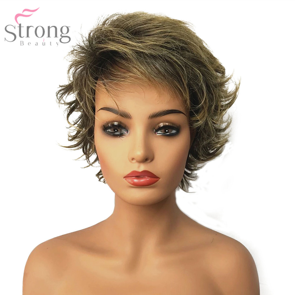StrongBeauty Women's Synthetic Capless Wig Brown/Blonde Mix Pixie Cut Short Layered Haircut Hair Natural Wigs