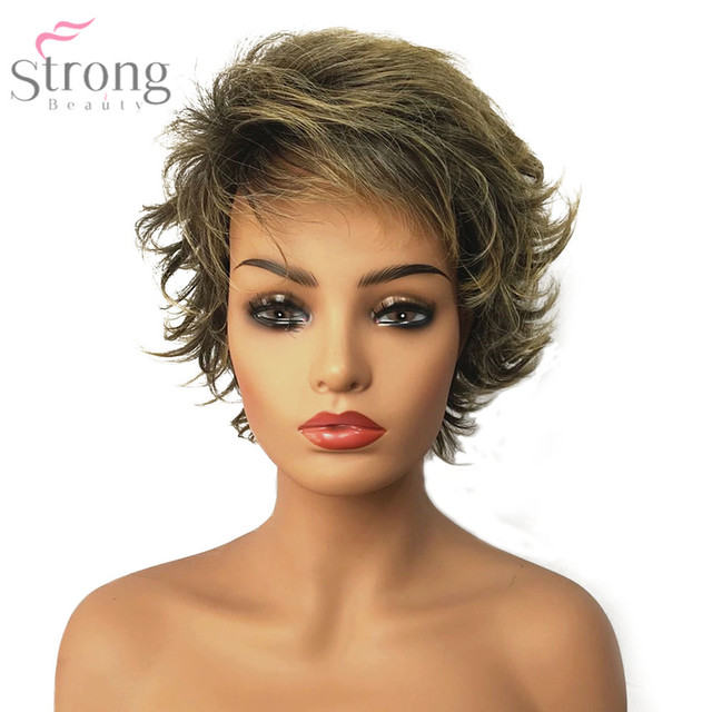 StrongBeauty Womens Synthetic Capless Wig Brown/Blonde Mix Pixie Cut Short Layered Haircut Hair Natural Wigs