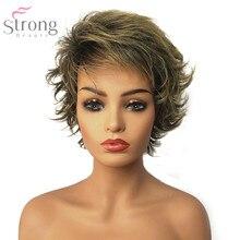 Strongbeauty feminino peruca sem tampa sintética marrom/loira mix pixie corte de cabelo curto em camadas natural perucas