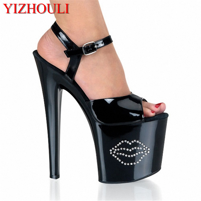 shine nightclub lap-dancing ultra high heels of the lacquer that bake fair maiden temperament show high heels Sandals 15cm fashion show thin high heels super high heels of the lacquer that bake the bride shoes sandals girl with high performance