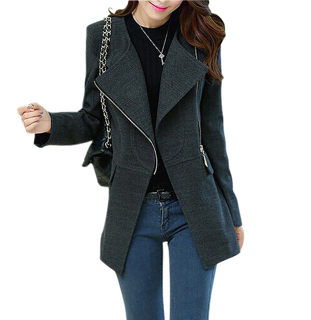 IMC Women Woolen Winter Warm Zipper Long Coat Jacket Parka Outwear