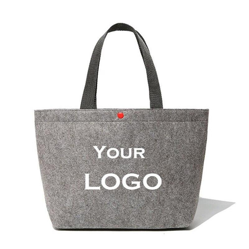 Custom รีไซเคิลผู้หญิงผสมสี Felt Tote กระเป๋าเป็นมิตรกับสิ่งแวดล้อม Felt กระเป๋าแฟชั่น Felt กระเป๋าของชำ-ใน ถุงช้อปปิ้ง จาก สัมภาระและกระเป๋า บน   1