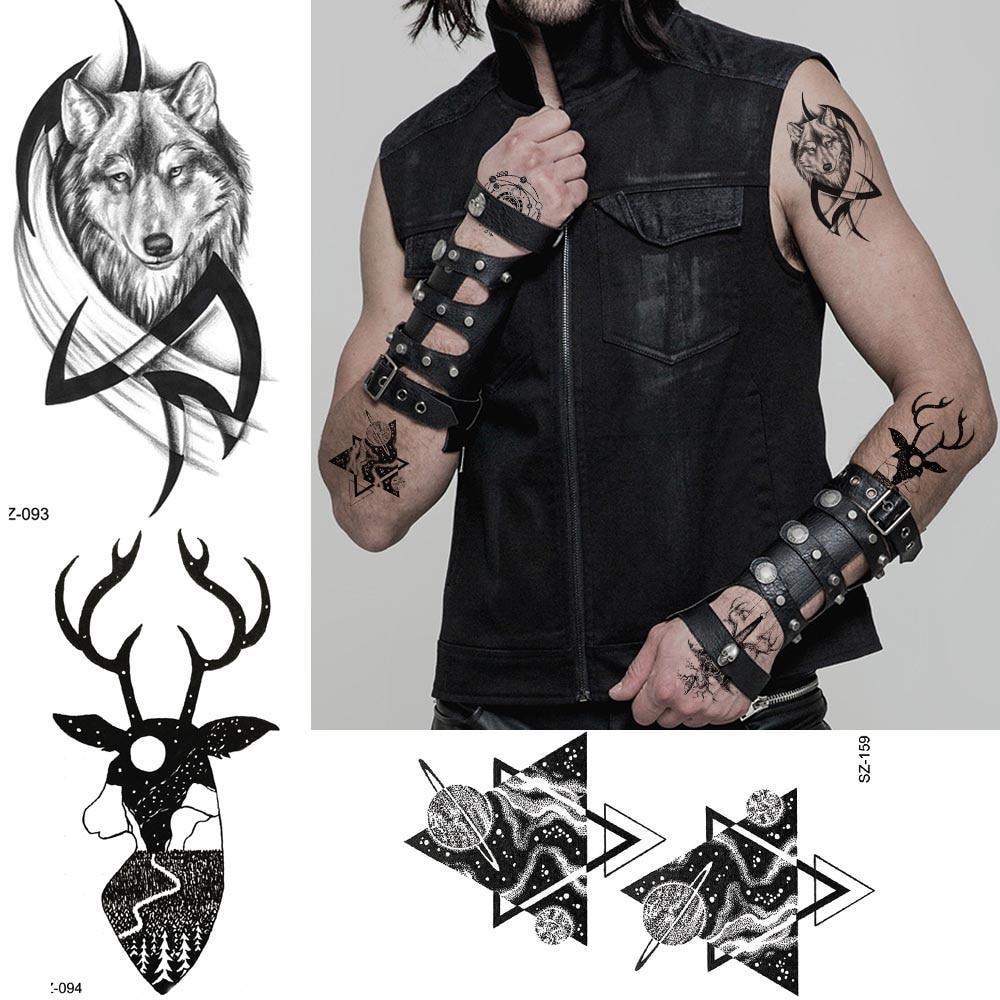 Us 049 Tough Guy Temporary Tattoo Cool Body Art Painting Men Arm Totem Tattoo Stickers Women Wolf Elk Neck Fake Tatoos Geometric Planet In