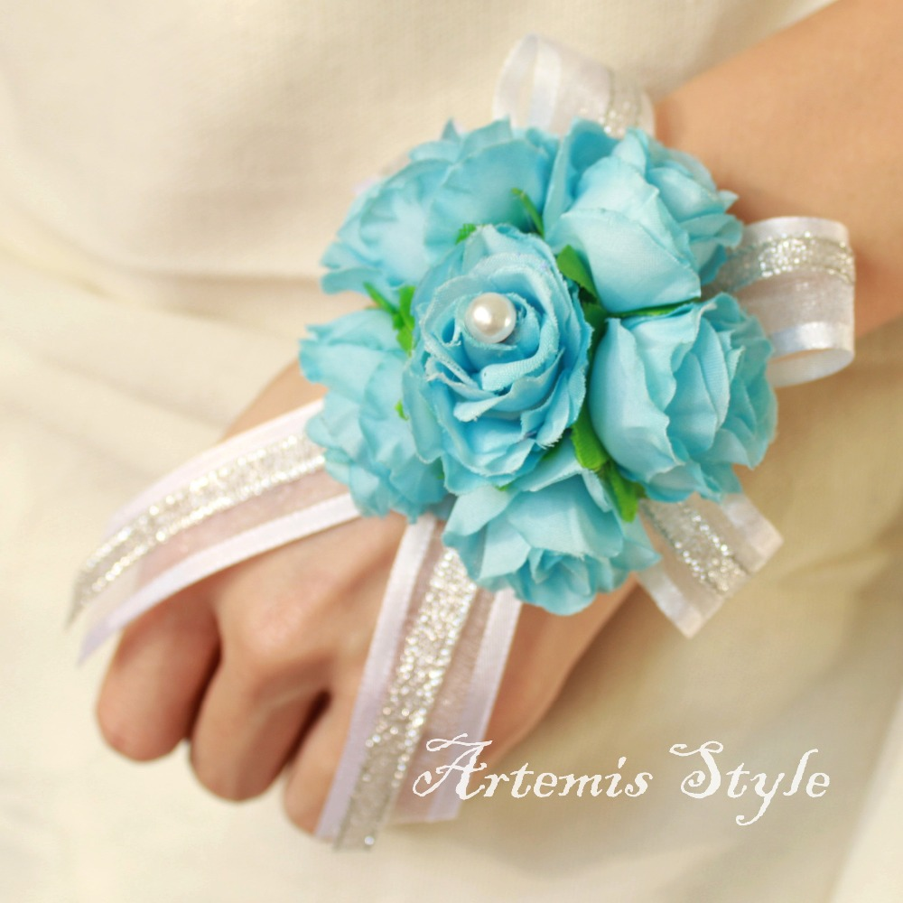 Sky blue small tea rose wrist corsage wedding decoration artificial sky blue small tea rose wrist corsage wedding decoration artificial flowers bracelet banquet party prom wrist flower accessories in artificial dried izmirmasajfo Gallery