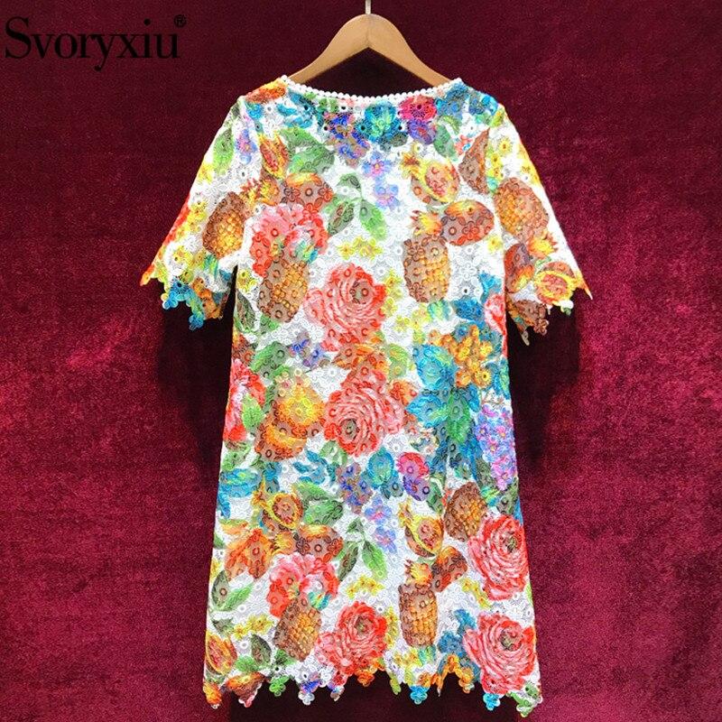 Kadın Giyim'ten Elbiseler'de Svoryxiu 2019 Pist Yaz Renkleri Dantel Kısa Elbise kadın Zarif Hollow Out Nakış Boncuk Casual Parti Gevşek Elbiseler'da  Grup 2