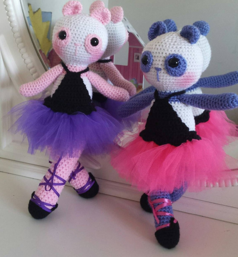 Crochet Toys  Amigurumi  Rattle Dance Panda Lover  Number  SQ008