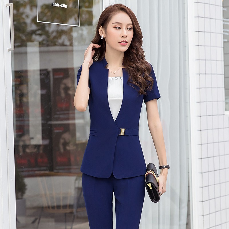 2019 Summer Uniform Designs Pantsuits With Jackets And Pants Short Sleeve Women OL Styles Pantsuits Office Ladies Blazers Set