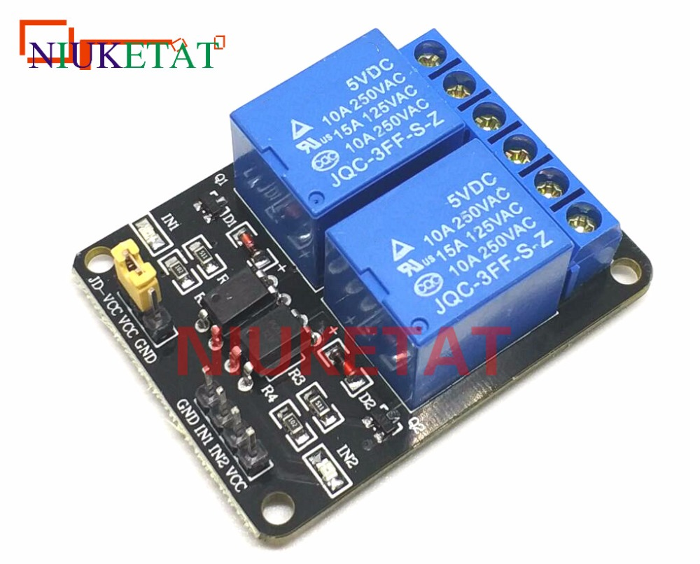 2 Channel Relay 5v with light coupling protection expansion board have a single way  2 road relay module 5v free shipping 5v 2 channel ir relay shield expansion board module for arduino with infrared remote controller
