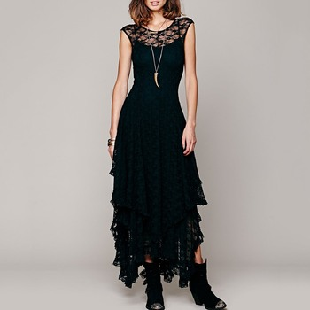 Gothic Women Black Lace Maxi Dress Pullover Ruffles Asymmetric 2 Colors