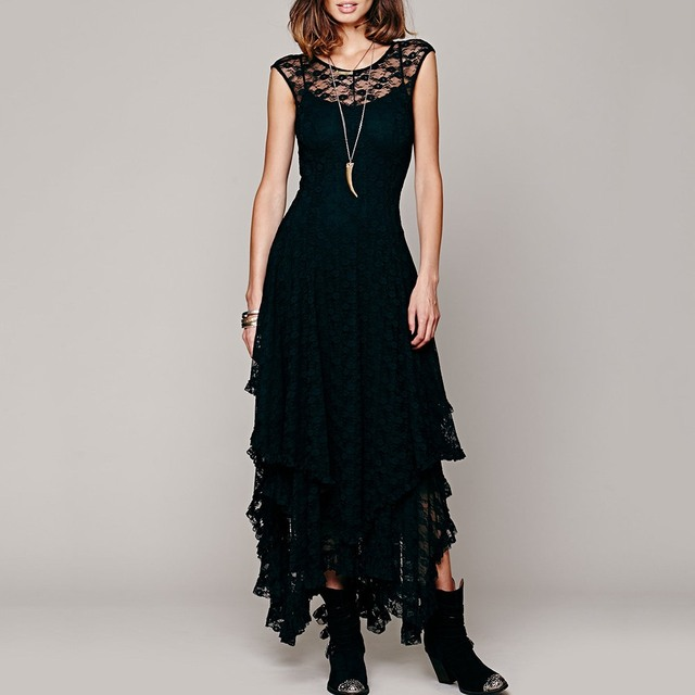 775b35567b7 Gothic Women Black Lace Maxi Dress 2018 New Pullover Ruffles Asymmetric  Lady Elegant Party Club Backless Goth Sexy Long Dresses
