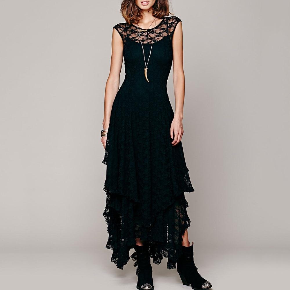 Gothic Women Black Lace Maxi Dress 2018 New Pullover Ruffles Asymmetric Lady Elegant Party Club Backless Goth Sexy Long Dresses