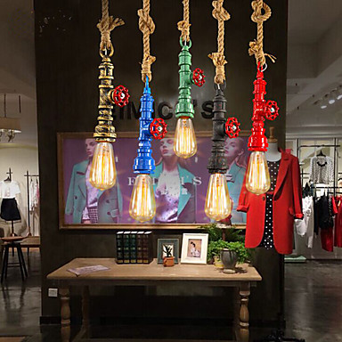 Edison Retro Loft Industrial Lighting Vintage Pendant Light Fxitures Dinning Room Rope Pipe Lamp Lamparas Colgantes 5 Color retro loft style iron glass edison pendant light for dining room hanging lamp vintage industrial lighting lamparas colgantes