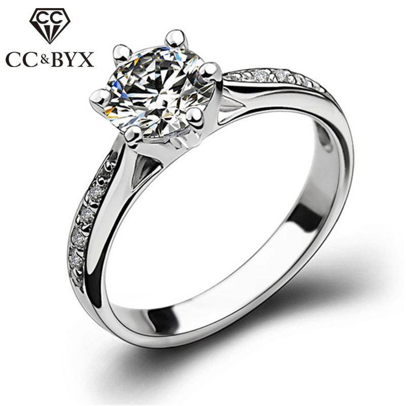CC Trendy Jewelry Silver Rings For Women Bridal Wedding Cubic Zirconia Round Stone Ring Bijoux Femme Engagement Anel CC1455