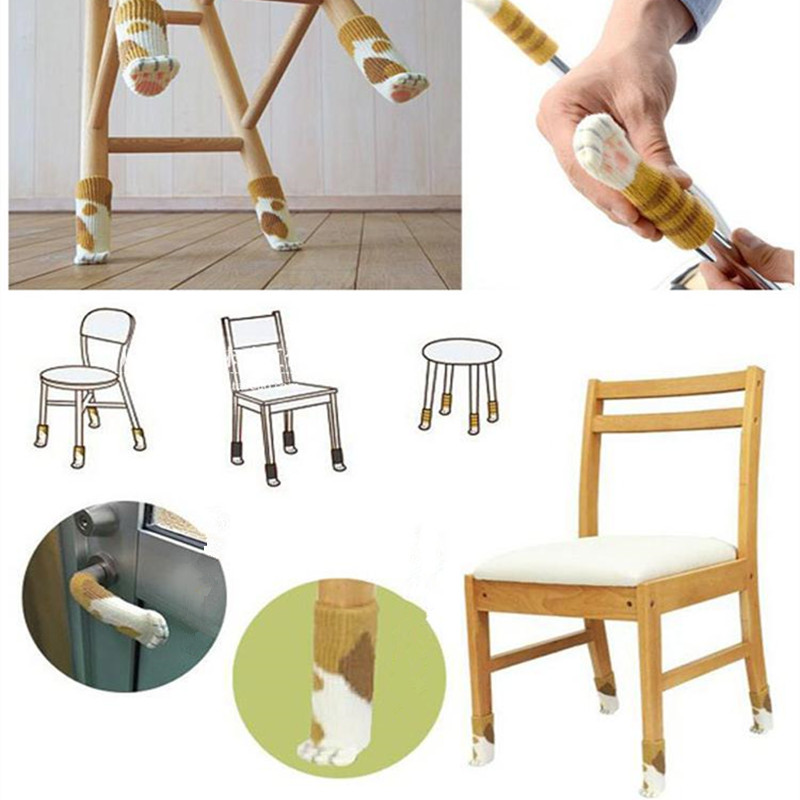 4pcs Chair Cloth Floor Protection Knitting Wool Socks Table