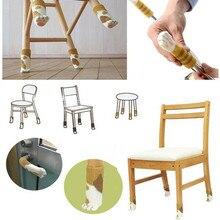 4 шт. ножка стула носки ткань для защиты пола Вязание шерстяные носки в полоску противоскользящие ножки стола: мебельные ножки рукав Когтеточка для кошек