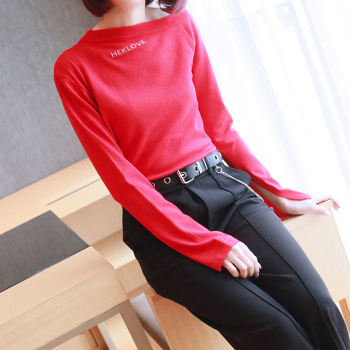 Spring word collar short female 2019 new Korean women's long-sleeved slim bottoming sweater shirt